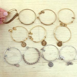 Set of 11 Alex and Ani bracelets